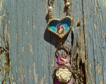 Urban Reliquary - Petite Fleur - Saint Therese de Lisieux - Handmade Brass Heart - Mixed Media Soldered Collage Pendant- Stunning OOAK