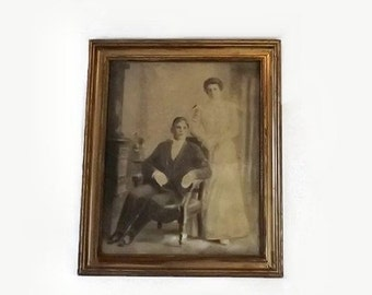 Antique Large Siblings Portrait Charcoal Drawing Gilt Gesso Wood Frame Victorian Home Decor
