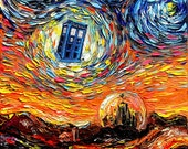 Dr Who Art - Tardis Starry Night print van Gogh Never Saw Gallifrey by Aja 8x8, 10x10, 12x12, 20x20, and 24x24 inches choose