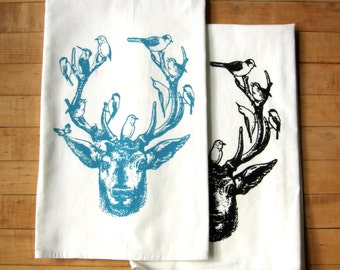 Deer & Birds Tea Towel Set/2, Hand Printed Soft Cotton, Black, Turquoise Blue,Leaf Green,Wedding Gift, Bridal Shower Gift,Rustic Cabin Decor