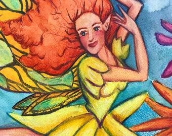 Magical Fantasy Art Redhead Fairy Summer Coneflower Color Pencil Drawing Watercolor Mixed Media Home Decor
