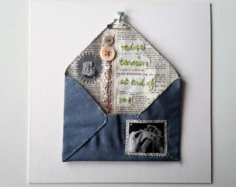 Hand Embroidery 'REDUCE TENSION' Textile Art Mixed Media Envelope made by hand