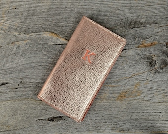 Rose Gold Leather Travel Wallet with Personalized Initial - Custom Gift for Girlfriend Wife Sister Friend Her Woman Leather passport holder