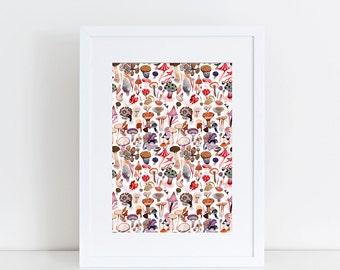Dancing Mushrooms (t i n i e s - a u t u m n) A5 print 14.8 x 21 cm from my gouache illustration