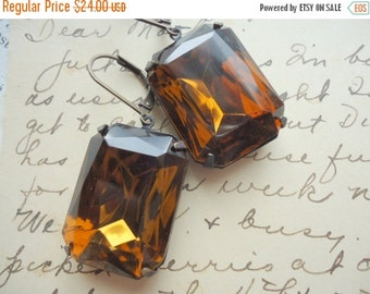 SALE Brown earrings, Smoky Topaz statement earrings, Estate earrings, chunky earrings.