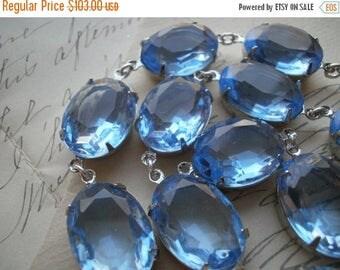 SALE blue Statement Necklace, pale blue necklace, georgian, Anna Wintour, collet necklace, light sapphire necklace, light blue necklace.