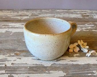 Handmade Pottery Teacup - Vanilla White - Coffee Cup - Tea - Cappuccino - Latte - Soup Mug