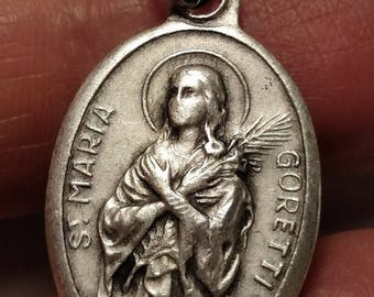 Vintage St Saint Maria Goretti Religious Medal Pendant Silver Plated Marked ITALY