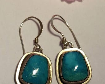 Vintage 1970s Native American Turquoise Sterling Silver Long Drop Earrings Pierced