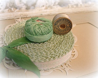 vintage sewing woven soft mint and cream trim + vintage cotton crochet thread + antique belding embroidery silk wooden spool