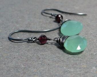 Mint Green Chalcedony Earrings Pink Tourmaline Earrings Oxidized Sterling Silver Earrings Pink and Green