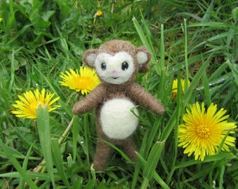 Monkey Needle Felted Figure Waldorf Soft Toy