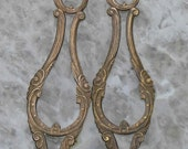 Two very pretty 1930s French brass drops for pendants..Very rare.