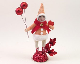 READY TO SHIP Vintage Inspired Spun Cotton Valentine's Day Emma Elf Figure Ooak