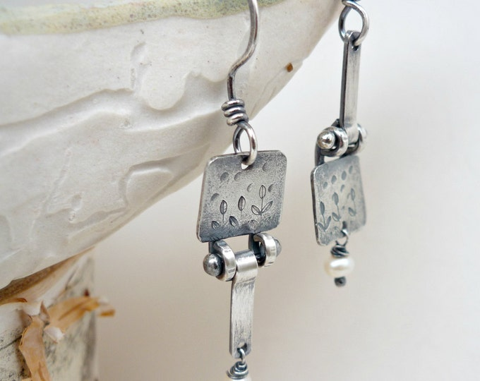 Sterling Silver Hand Stamped Asymetrical Roots and Shoots Dangle and Drop White Pearl Earrings