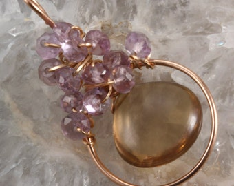 Champagne Citrine & Pink Amethyst  Wire Wrapped Pendant