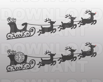 Santa Sleigh Reindeer SVG File,Christmas Monogram SVG File -Commercial & Personal Use- Vector Art for Cricut,Silhouette Cameo,vinyl decal