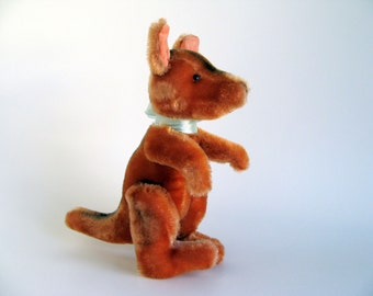 Vintage Small Kangaroo Stuffed Animal with Moveable Arms and Legs Chenille Mohair 1960s Toy Made in Japan Possibly Dream Pet Midcentury Toy