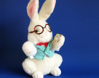 Vintage White Rabbit Stuffed Animal from Alice in Wonderland Target Stores 1990s Toy 1991 Easter Bunny Eyeglasses Pocket Watch