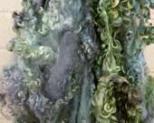 Cotswold Wool Curls - Hand Dyed Fleece - Green, Gray Locks - Spinning Supplies - Sea Hag