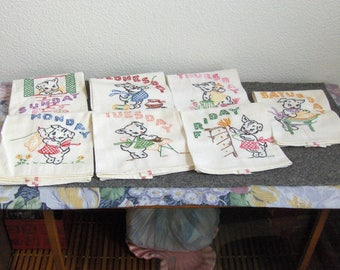 Vintage - hand stiched Dish Towels - 7 days of the week - kitten working design - !!!