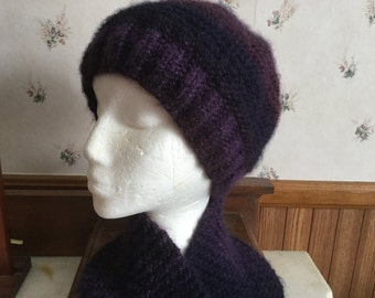 Dark Purple and Black Hand Knit Pull Through Scarfette and Hat