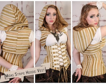 S - Midas Stripe Hooded Vest w/Front Clasp