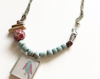 Mixed Media Bird Necklace