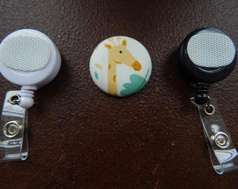 Fabric Covered Button for Clip on Retractable Badge Reel - Giraffe