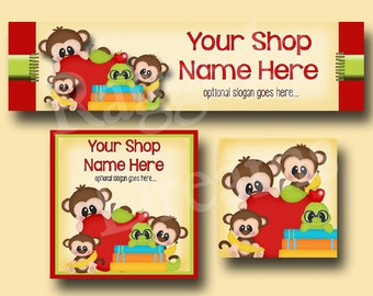 Premade Etsy Cover Photo  - Large Etsy Banner - Etsy Shop Banner - Shop Icon - Monkey - Bookworm - School Clipart