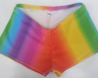 Rainbow Short and Sweet roller derby shorts, made to order