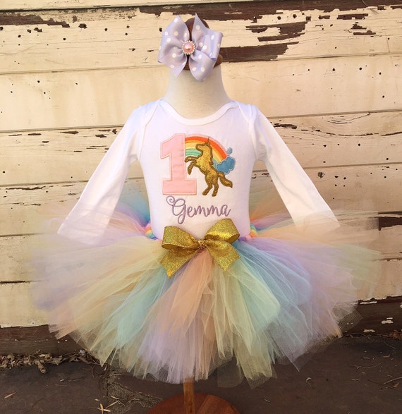 Pastel Unicorn Rainbow 1st Birthday Tutu Outfit