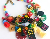 SALE Vintage Game Pieces and Toys Statement Necklace - Game On!
