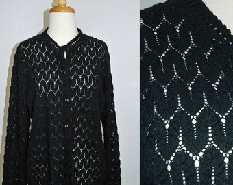 ZIG AND ZAG - vintage 1960s black pointelle sheer cardigan by Carol Brent -  Sz  medium or large