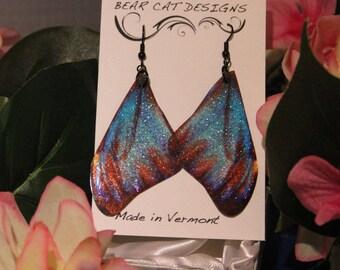 Large Blue Morpho Glitter Faux Butterfly Wing Earrings
