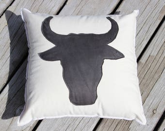 Bull Silhouette Pillow, Cowboy Themed Bull Outline Pillow, Customizable Size, Black Leather on Cotton Canvas, Pillow Insert included