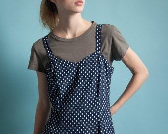 black white polka dot mini dress / sweetheart dress / black mini dress / m / 2051d / B3