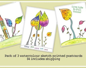 Cheerful Watercolor Sketch Postcard Set - 3 Different Images - Free US Shipping