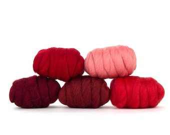 ON SALE Rosy Red Merino Variety Pack - 5 Colors - 50 grams per color = 250 Grams 8.8 oz total to Spin, Felt, Create Fiber Art, Card, Blend