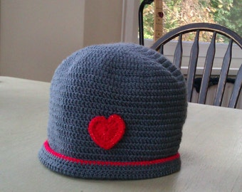 Stylish dark grey Crochet Beanie Hat with sparkly red trim and matching heart embellishment