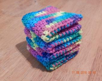 Dish Cloth, Wash Cloth, Crochet Dish Cloth, 100 percent cotton, Set of Four Dish Cloth / Wash Cloth -- Psychedelic