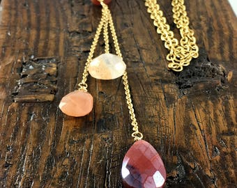 """Long Gold Layering """"Quest"""" Necklace with Peach Moonstone, Carnelian, and Sunstone Gemstones"""