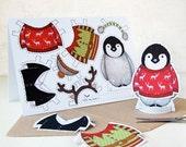 BLACK FRIDAY SALE Penguin Dress Up Christmas Card. Penguin Paper Dolls Card. Paper Doll Penguin Toy. Kids Penguin Christmas Craft Activity.