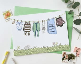 New Baby Boy Personalised Washing Line Card - Welcome To The World Baby Card - Baby Keepsake Card