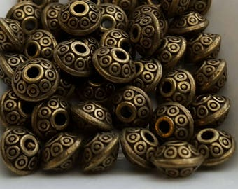 40 6mm dot pattern flying saucer shaped spacers beads antiqued bronze finish flattened rondelles