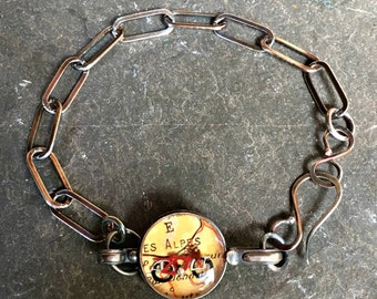 Bicycle Map  Bracelet Alps Alpes Vintage Atlas Gift for Cyclist for Him Sterling Silver Hand Forged