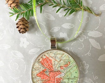 Philadelphia Map Ornament  50mm  Handcrafted for Holiday or Housewarming Gift for Travelers or Hometown Adventures Tree Trimmer