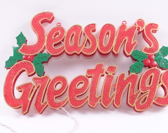 Season's Greetings, Vintage Light Sign, Christmas, Plastic Sign, Wall Hanging, Red Lettering ~ The Pink Room ~ 161211