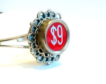 Number 9 antique cash register key  Cuff Bracelet  bangle  red bangle