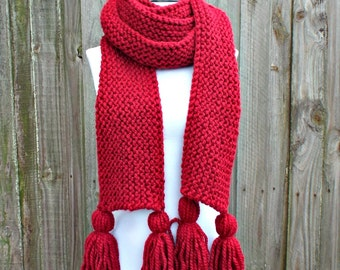 Cranberry Red Scarf - Red Knit Scarf - Red Oversized Scarf Tassel Scarf - Womens Scarf Mens Scarf Chunky Scarf Winter Scarf
